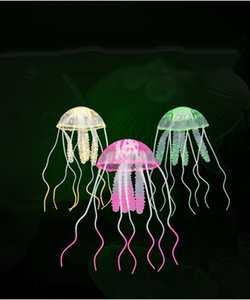 Aquarium ornament Simulation jellyfish silica gel fluorescent aquarium decorations 6 kinds of monochrome mixed color wholesale
