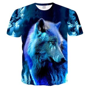 2020 new product European and American trend wolf head digital 3D printed T-shirt floral pattern T-shirt dot pattern T-shirt size 110-6XL
