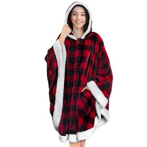 Ins Lazy Blanket Cloak Mens Womens Designer Plaid Hoodie Wearable Flannel Fleece Blankets Robe With Pocket Cape GGA3003-1