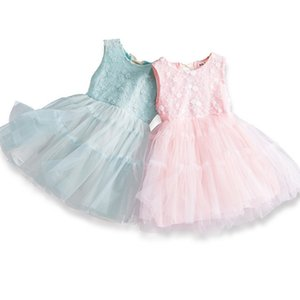 2020 New Girl Dress Back Bow Lace Fluffy Tulle Sundress Sleeveless Princess Dress Baby Clothes E16881