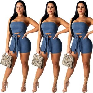 Vendita calda di estate blu denim Playsuits sexy senza spalline collo maniche Hollow Fiocco cerniera posteriore Skinny Shorts tute 2020