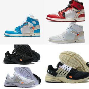 Vendite 2020 Nuovo 1 High OG Chicago pallacanestro Scarpe Retroes economici Bred Toe UNC Blu Bianco Trainer Uomini Donne Presto V2 Designer Shoes Sport
