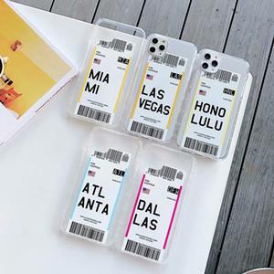 iPhone Air biglietteria del telefono di caso per 11 Pro X XSMax 8 7plus Paese Londra Parigi Tokyo Houston Chicago Los Angeles Soft Cover trasparente
