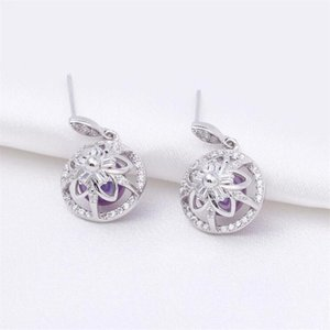 earring mountings without pearl empty support accessories zircons solid sterling silver cage earrings for round pearl