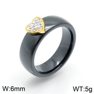 Uh- New arrivals stainless high quality black stainless steel gold crystal heart wedding women rings