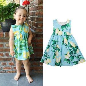 Emmababy Newborn Sommer 2019 Kleinkind-Kind-Baby-Mädchen Ärmel Lemon gedrucktes Kleid Prinzessin Party Festzug Festliche Kleider