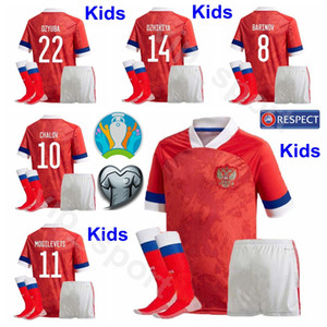 Çocuklar Rusya Gençlik Dzyuba Jersey Çorap Seti Euro 2020 Futbol Ionov Golovin OZDOYEV Kerzhakov Arshavin MIRANCHUK Çocuklar Futbol Gömlek Setleri