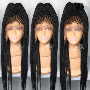Afrika kadın tarzı cornrows Örgü peruk uzun 200 yoğunluk tam mikro örgü peruk bebek saç ile jumbo örgü dantel frontal peruk