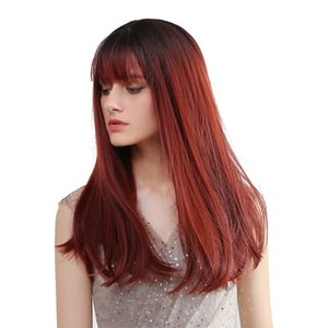 20 \ « \ » perruques synthétiques droites Charme W / Neat Bangs Ombre Vin rouge Femmes perruque