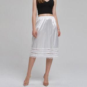 Mulheres Half deslizamentos underskirt Sólido Branco joelho deslizamento saia de verão underdress Intimates Sexy Lace Hem Petticoat jupon Femme
