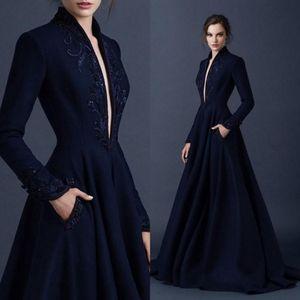 Robes de soirée Vintage bleu marine en satin 2019 broderie Robes Paolo Sebastian perles Parti robe de bal plongeant V-cou robe de bal BA9490