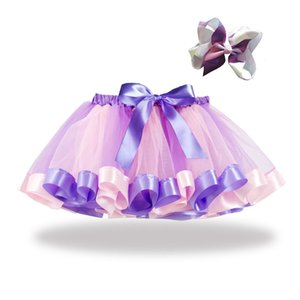 2 Pcs Girls Kids Tutu Skirt Party Dance Ballet Skirt+bow Hairpin Set Rainbow Tulle Skirts Girls Ball Gown Skirt Clothes Costume