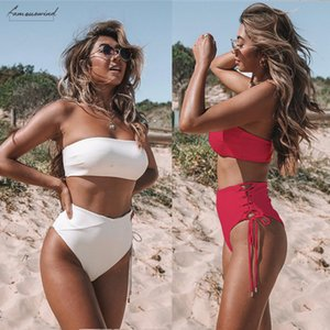 Solid Bikini Swimsuit Women Beachwear Set 2020 High Waist Bandage Sexy Off Shoulder Swimming Bathing Suit Female Mujer Biquini