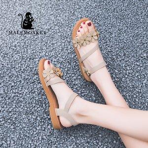 Mulher Sandals MALEMONKEY 023038 Ladies Retro 2020 verão moda feminina elegante Plano Zapatos Mujer sandálias das senhoras Mulheres Casual
