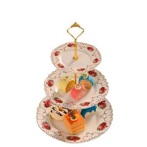Bandejas Do Casamento Do Vintage Três Camadas Prato Relevo Rosa Placas De Frutas De Cerâmica Continental Criativo 2 Estilo Pode Ser Escolhido