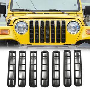 Araba Ön Mesh Grille ekler Grill Trims Dekorasyon Aksesuarları için Jeep Wrangler TJ 1997-2006 ABS Dış Aksesuar