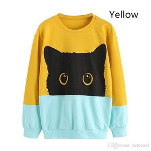 New Women Hoodie Sweatshirt Casual Cute Lovely Cat Print Long Sleeve Hooded Pullover Tops Blouse Dropshipping High Quality Plus Size 2XL
