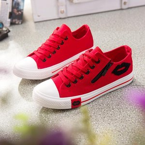 Spring Summer Korean version of canvas shoes women s low gang with red lip side zipper students flat-bottomed casual sports shoes triple