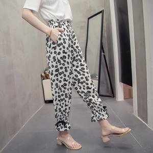 2020 новое прибытие Aslea Rovie лодыжки длина брюки офис Леди свободные шифон эластичный пояс цветочные высокие плоские шаровары фарфора (основной