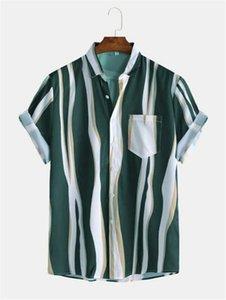 Mens 2020 Chemises design de luxe été rayé Holiday Beach T-shirt à manches courtes Hauts Cardigan Vêtements Homme
