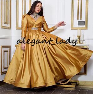 Ouro inchado Saia Prom Dresses 2020 Árabe Dubai muçulmana alta Long Neck Sleeve frisada de cristal tornozelo comprimento vestidos de noite desgaste