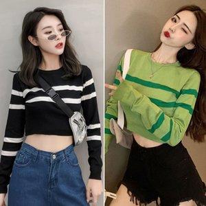 Herbst neue Frauen-Strickpullis koreanische Art-Dame-Short Pullover Langarm Fall Pullover Kleidung