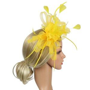 Banquet Fedoras Bowknot Church Party Hat Derby Day Gift Bridal Women Wedding Feather Mesh Hair Accessory Fascinator Headband