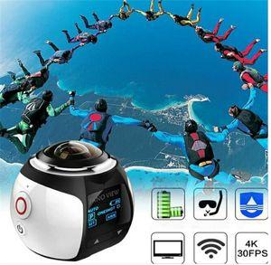 V1 4K VR 360 액션 카메라 와이파이 미니 2448 * 2448 16MP 울트라 HD 파노라마 카메라 3D 방수 VR Camerayn