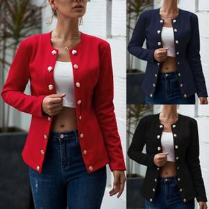 Womens Designer Jacket Solid Color Automne Élégant Double boutonnage À Manches Longues Col Ras Du Cou Vestes Womens Mode Manteaux