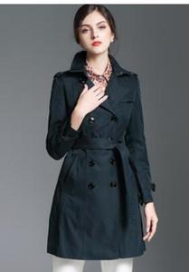 çok satan! Kadınların moda ingiliz orta uzun pamuklu trençkot / yüksek kaliteli kadın boyut S-XXL B55200 için İngiltere ince uygun siper markalar