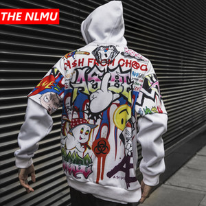 Хип-хоп толстовки Мужчины Женщины 2019 Осень Зима Письмо Граффити Printed пуловер Hoodie мужской моды Уличная фуфайки WG343