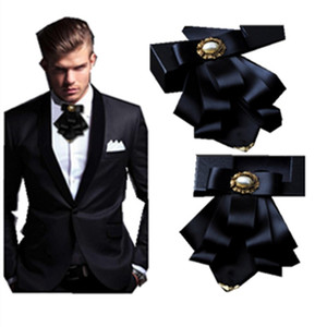 Casamento Groomsmen Low Tie Corners Multilayer Bow-Gravata Flower Collar Men's Business Ternas