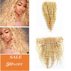 Dilys cheveux blonds profondes vague 4x4 fermeture de cheveux 13x4 oreille à l'oreille dentelle frontale brésilienne peruvian péruvien remy remie couleur 613 10-20 pouces