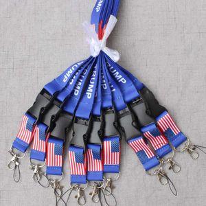 TRUMP lanyards U.S.A Drapeau amovible des États-Unis Porte-clés Badge Pendentif Party Gift longe de téléphone Souvenir ZZA760