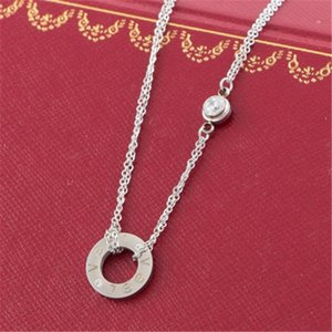 Couple Fashion Diamond Pendant Necklace Rose Gold Letter Clavicle Chain Retro Long Top Grade Lover Necklace Jewelry