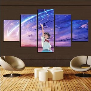 Cartoon Canvas Art Panel Spray Japan 5 Your Name Anime Anime Movie Poster Print Framed Modern Home Decor Wall Picture