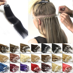 Loop Micro Ring Hair Extension 100% Remy Human Hair Extension Nano Ring14-24inch Natural Black Brown Blonde 10 colores 100s / paquete Barato