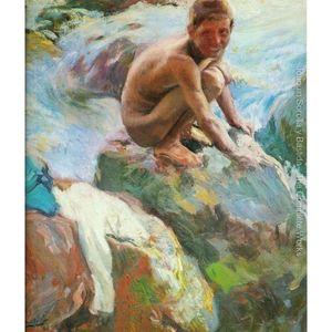 Дети на скале. Хоакин Соролья и Бастида. Холст, масло. Ручная роспись. Высокое качество.