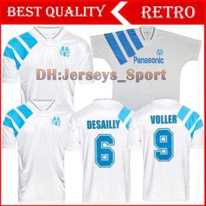 Maillot de pé om idade Marseille retro 1991 1992 1993 tamanho extra camisas de futebol de futebol XXL 2XL Payet Boli Olympique de Marseille 91 92 93