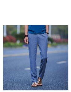 Slim Man Hosen-Sommer-Männer neue Art einfach und moderner reine Baumwolle und Leinen gerade Hose Sport Pants Men Fitness Sportswear