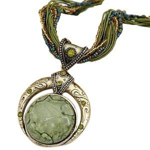 Vintage Bohomian Reiki sfera pietra opalina Dio Luna Collana per le donne corda Collana enorme fortunato Divinazione Pietra Girocollo