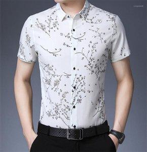 Mens Polo Fashion Lapel Neck Short Tees Casual Slim Mens Tees Summer Floral Printed