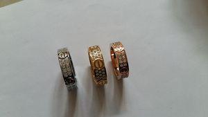 Anéis Moda Jóias Titanium Steel Wedding Ring Engagement 2/3 linhas com Zircon Diamante para homens e mulheres