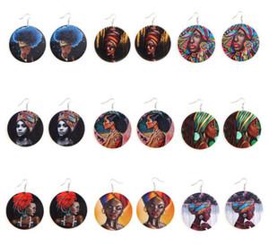 African Women Colorful Printing Pendant Wood Earrings African Head Pattern Wooden Round Dangle Eardrop Ear Hook Earring