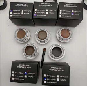 Hot Eyebrow Pomade Mejoradores de cejas Maquillaje de cejas con pinceles 5 colores Marrón medio Marrón oscuro con paquete al por menor Envío de la gota