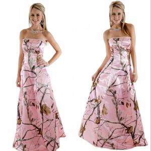 크리스탈 구슬 끈 네클라인 Realtree A 라인 웨딩 드레스 웨딩 핑크 카 모 웨딩 드레스 입는다