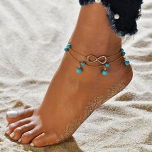 Bracciale caviglia Boemia Perle dei monili della catena del piede per le donne Double Layer catena incanta il braccialetto del CALZINO Beach gioielli per le donne
