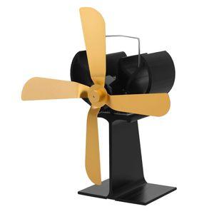 4 de la hoja superior de la estufa Ventilador Chimenea Heat Fan Desarrollado Por madera del registro Quemadores de Oro