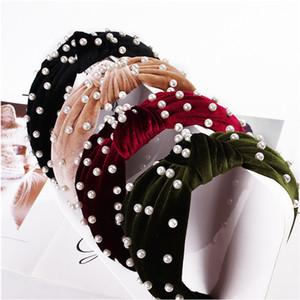 Arbeiten Sie Perlen-Haar-Stöcke Mädchen Velet-Haar-Band-Bögen Beliebte Stylew Frauen Stirnband Weihnachten Haar-Zusätze 12 Farben 2020