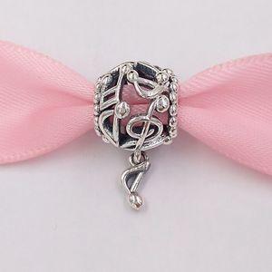 Authentische 925 Sterling Silber Perlen Perforierte Music Notes Charm Charms Passt Europäische Pandora Style Schmuck Armbänder Halskette 798779C00